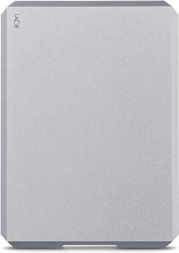 LaCie Mobile Drive, 1 TB, Hard Disk Esterno Portatile, USB-C, USB 3.0, Moon Silver, 2 Anni di Servizi Rescue (STHG1000400)