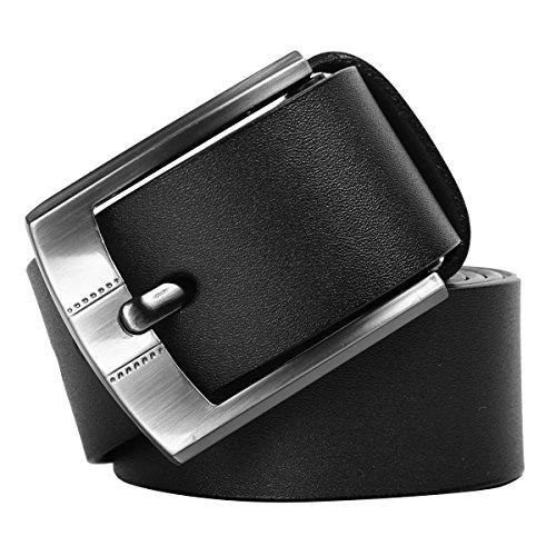 Leathario cinturón de piel para hombre con hebilla de metal-negro