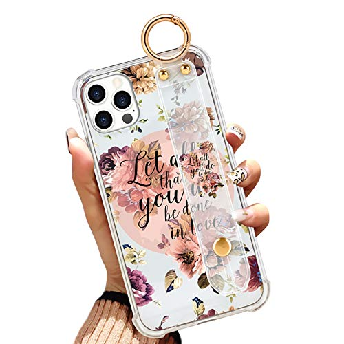 iPhone 12 Pro Max Clear Case 6.7 Inch Anti-Yellow Reinforced Corners Full Protective Slim Phone Cover with Design Christian Quotes Bible Verse Flower Floral Shell with Wrist Strap Lanyard Kickstand