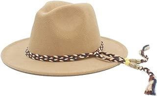 Fedora Cap Wool Fedora Hat Women Men Outdoor Travel Casual Jazz Hat Pop Wide Brim Fascinator Hat Wedding Hat Size 56-58CM Felt hat (Color : Khaki, Size : 56-58)