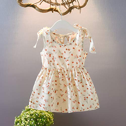 Janly vendita di liquidazione ragazze vestito per 0-10 anni, bambino ragazza senza maniche nastri fiocco abito floreale principessa vestito, es, bianco, 6-12 mesi
