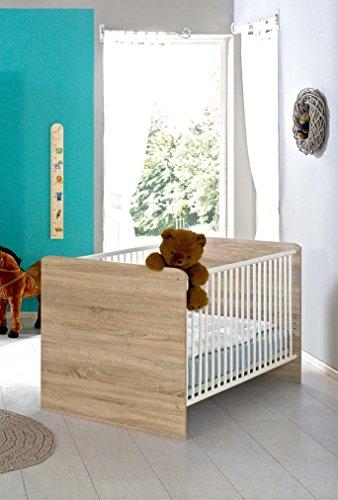 Kinderbett Babybett komplett Set ELISA inkl. Lattenrost 70 x 140 cm höhenverstellbar, in Eiche Sonoma/weiß - umbaubar zum Juniorbett - Made in Germany, 100{34c82dd29313f6d7e834e024eff56accfba40cdf273568af80d32106b910d720} zertifiziert