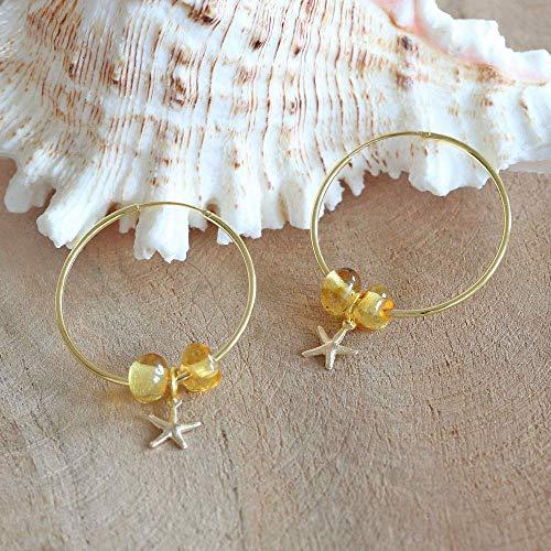 Vergoldete Creolen mit Seestern aus 925 Sterling Silber mit Perlen aus Bernstein, echt