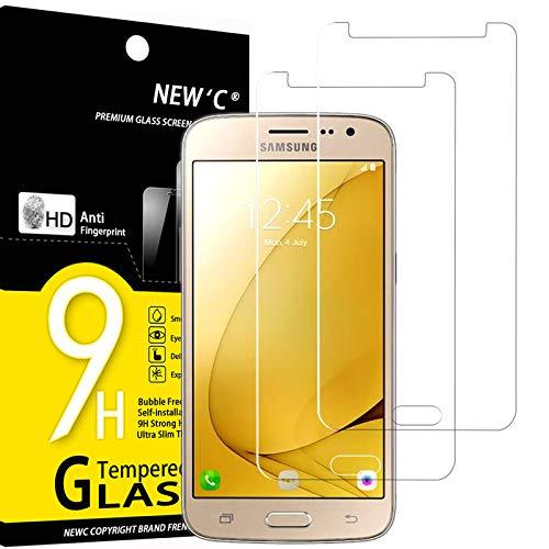 NEW'C 2 Stück, Schutzfolie Panzerglas für Samsung Galaxy J2, Frei von Kratzern, 9H Festigkeit, HD Bildschirmschutzfolie, 0.33mm Ultra-klar, Ultrawiderstandsfähig