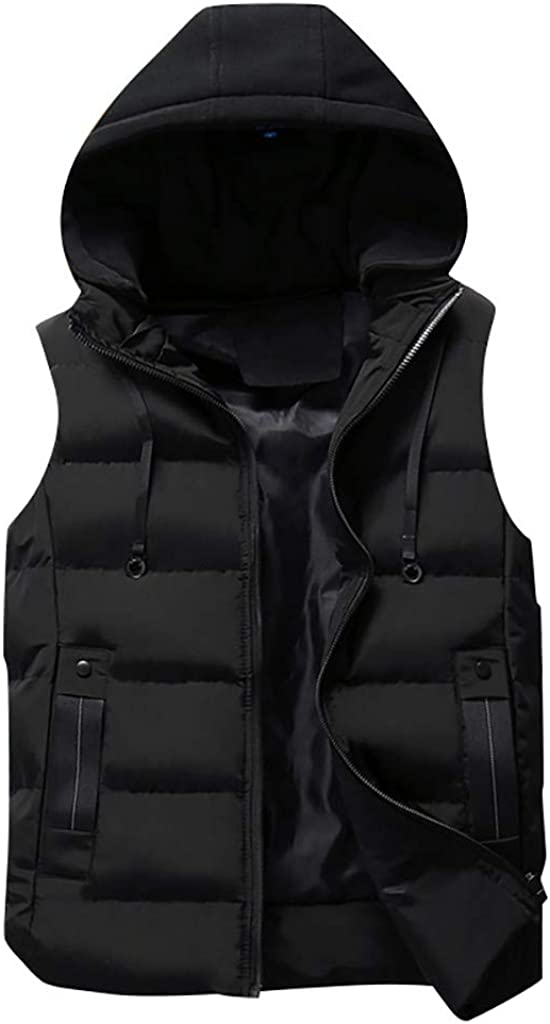 Allywit-Mens M-5XL Coat Padded Cotton Vest Warm Hooded Puffer Thick Vest Jacket Top Plus Size