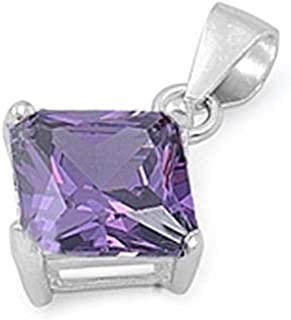 Blue Apple Co. Solitaire Pendant for Necklace Princess Cut Square Simulated Purple Amethyst 925 Sterling Silver