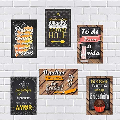 Kit Com 6 Placas Em Mdf - Frases Para Cozinha - R+ Adesivos