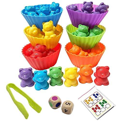 Stylelove Osos contadores de Colores con Vasos de clasificación coordinados, clasificación Montessori y Juguete de conteo Educativo para niños pequeños y niños (Juego de 62 Piezas)