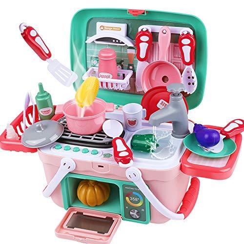 MINGDIAN Juguete de Cocina, Juego de Cocina para niños con Utensilios de Cocina, Horno, Fregadero, Regalo de Aprendizaje navideño para niñas y niños