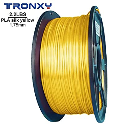 PLA+ Silk Yellow 3D Printing Filament 1.75 mm, 2.2 LBS (1KG), Dimensional Accuracy +/- 0.05 mm, More Smooth and Shiny(PLA+ Silk Yellow) (Yellow)