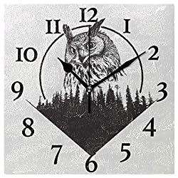 Naanle Owl Animal Square Wall Clock, Owl on Forest Black and White Silent Non Ticking Wall Clocks Battery Operated for Home Office School Decor