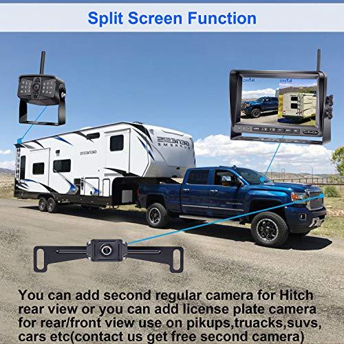 LeeKooLuu LK5 HD 1080P Digital Wireless Backup Camera Kit for RV,Trailer,Truck,5th Wheels with 7'' DVR Split Screen 2021 Lastest Version High-Speed Observation System 170° Wide Angle IR Camera
