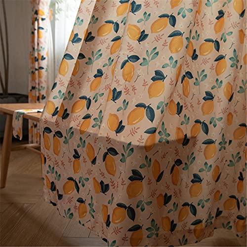 FACWAWF Estilo Japonés Retro Naranja Verde Hoja Limón Semi-Sombreado Sala De Estar Dormitorio Estudio Cortina W300xH270cm(1pcs)