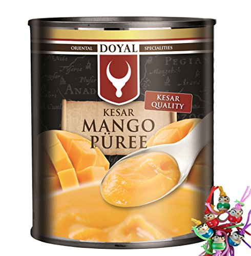 [ 12x 850g ] DOYAL Mango Püree KESAR / pürierte Mango / Kesar Quality / Mangopüree + ein kleines Glückspüppchen - Holzpüppchen