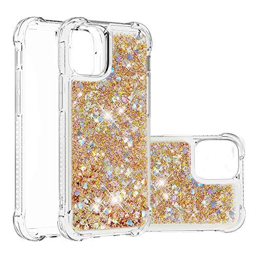 HSRWGD Funda para iPhone 12 Pro 5.4 pulgadas Heavy Duty Girly Protective Glitter Liquid Bling Quicksand híbrido resistente a los golpes duro parachoques suave transparente cubierta protectora (dorado)