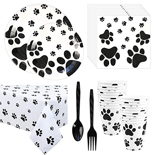 Cieovo Puppy Paw Party Supplies - Serves 20 Guest Includes Dinner Plates Dessert Plates Cups Napkins Fork Spoon and Table Cover Perfect for Dog Pet Paw Print Birthday Parties Decoration