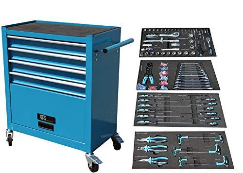 NTG Carro de herramientas con ruedas, 4 cajones, incluye herramientas