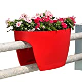 Greenbo XL railing, deck rail planter windowbox by greenbo - Color - red - Set of two units - 7290013074959