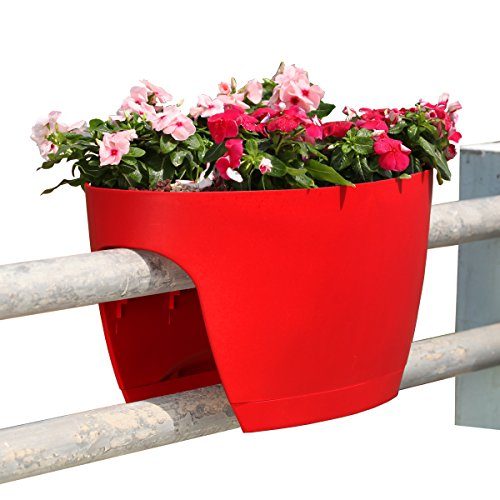 Greenbo XL Deck Rail Planter Box with Drainage trays, 24-Inch, Color Red - Set of 2