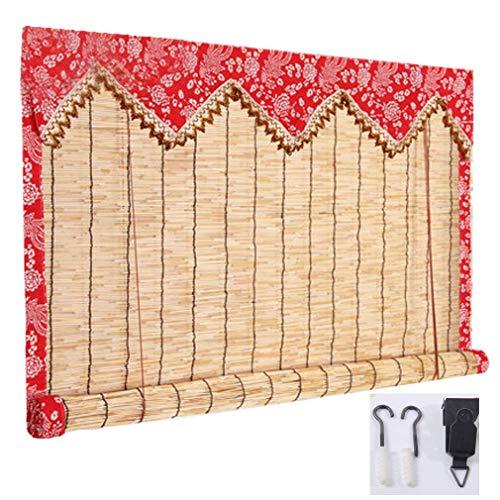 Retro Hemming bambú rueda for arriba la ventana Sombras - patio de sol de cortinas enrollables - impermeable cortina Reed - Filtrado de la Luz - Persianas decorativa for exterior / interior - por enca