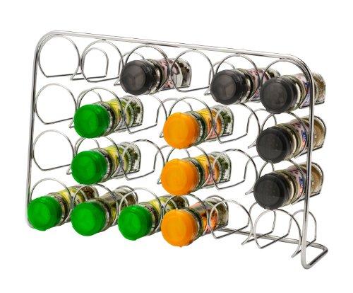 Estante de especias Pisa®, soporte de metal cromado, metal, 24 Jar Capacity