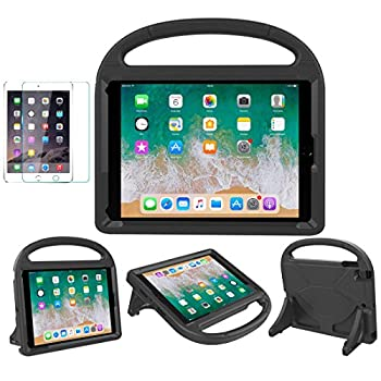 iPad 9.7 2018 / 2017 / Air 1/2 / Pro 9.7 Case for Kids - SUPLIK Durable Shockproof Protective Handle Bumper Stand Cover with Screen Protector for iPad 9.7 inch 5th/6th Generation Black