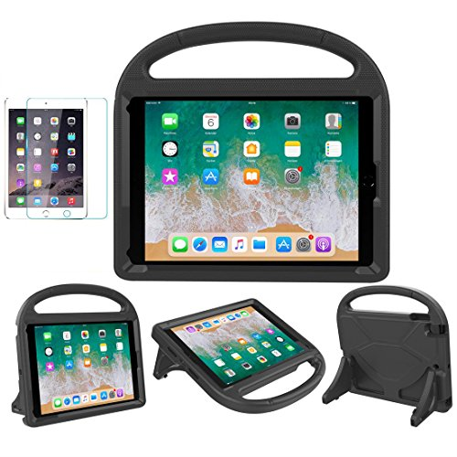 MOXOTEK Kids Case for iPad 9.7 2018/2017 / Air 1/2 / Pro 9.7, Durable Shockproof Protective Handle Stand Bumper Cover with Screen Protector for Apple 9.7 inch 5th/6th Generation, Black