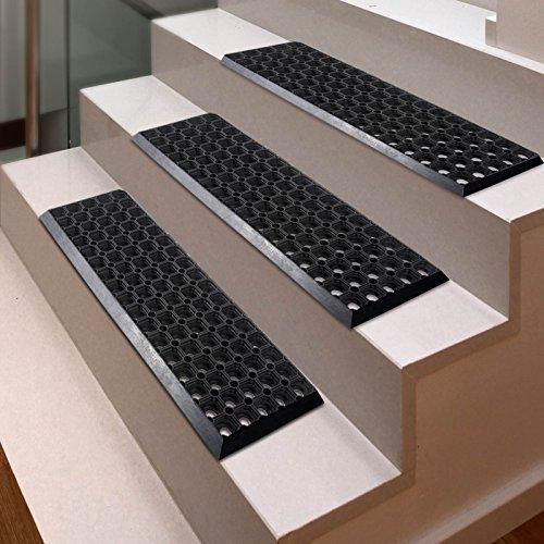 etm Gummi-Stufenmatten-Set| rutschfeste Matten für Treppen | für Innen- und Außenbereich | 2cm dick (25x 75cm) | 100% wetterfest, 5 Stück
