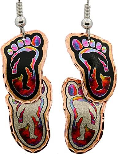 Pendientes de cobre de lobo/alce/águilas/cuervos/caballo/sasquatch/Santa Fe varias formas con diseño de arte abstracto