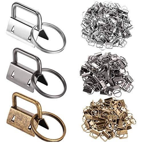 Gesh 150 piezas de llavero hardware 3 colores clip cola con accesorios llavero hardware 32 mm