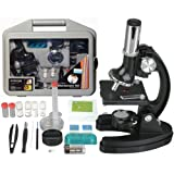 AmScope 120X-1200X 52-pcs Kids Beginner Microscope STEM Kit with Metal Body Microscope, Plastic Slides, LED Light and Carrying Box (M30-ABS-KT51),Black