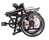 CAMP Folding Bike 25lb with Extra Folding Bikes Rack and Fenders 4lb Shimano 8 Speed 20 inch City (Black)