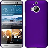 PhoneNatic Hülle kompatibel mit HTC One M9 Plus - Hülle lila gummiert Hard-case + 2 Schutzfolien