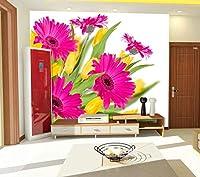 YCRY-壁紙ガーベラ色の花の壁3D -壁の装飾-ポスター画像写真-HD印刷-現代の装飾-壁画-400x280cm