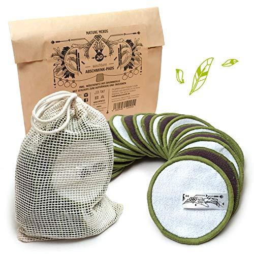 Nature Nerds – Kit de 20pièces de cotons de démaquillage nettoyable et réutilisables, Coton de démaquillage en bambou incluant un filet de lavage
