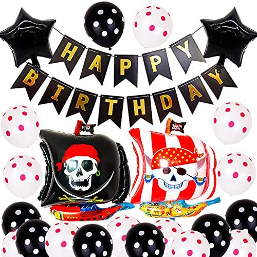 FANDE 30Pcs Pirata Temática Decoraciones Cumpleaños Kit, Globos para Fiestas Piratas, Pancartas de Feliz Cumpleaños, Decoración de Cumpleaños para Niños de Piratas
