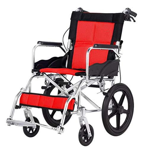 Cajolg Oiiits Rollstuhl Faltbar,Rahmen aus hochbelastbarer Aluminiumlegierung hohe tragfähigkeit Erwachsene Rollstühle,Rollator Faltbar Leichtgewicht,Rot