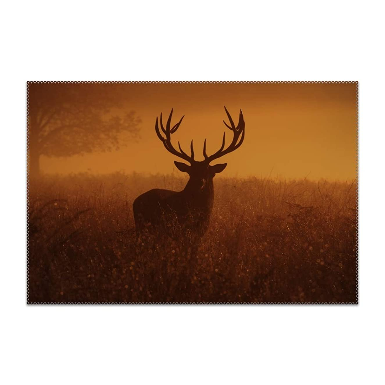 jiajufushi Herbivorous Deer Placemats Washable Placemats for Dining Table Heat Resistant Kitchen Table Mats Eat Meal Mat Easy to Clean
