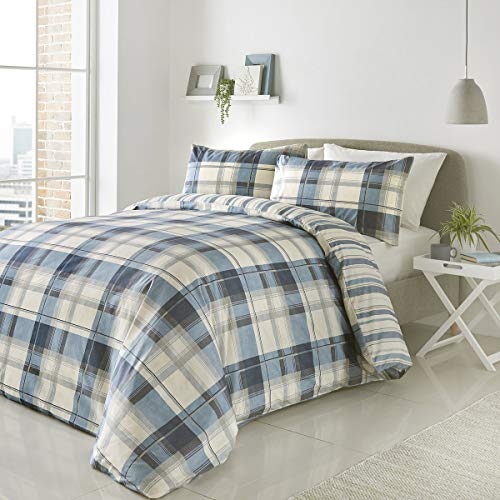 Fusion - Balmoral - Easy Care Duvet Cover Set - King Bed Size in Blue