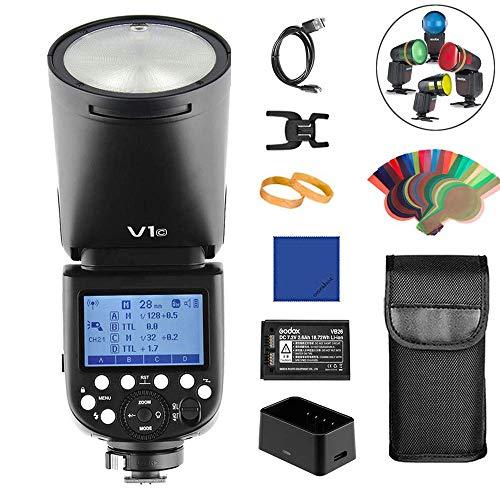 Godox V1C - Cámara de Fotos con Anillo Redondo Canon Flash Speedlite TTL 2.4G 1/8000s Sync de Alta Velocidad + batería de Litio 2600 mAh para Canon Serie EOS (Flash E-TTL II)