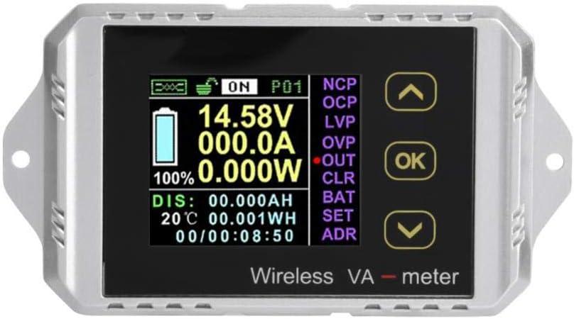Yoidesu Wireless Digital DC Voltmeter Ammeter Multimeter,Color LCD Screen Voltage Ampere Power Watt Coulomb Capacity Time Meter Temperature Tester Detector (VAT-1050)