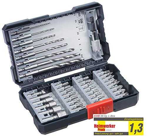kwb 108910 L 39-Piece Drill Box with Hexagonal Shaft 8 x HSS Metal Drill Bits PH, PZ and Torx in Set Including Countersink Bit Holder and Socket Spanner Bits