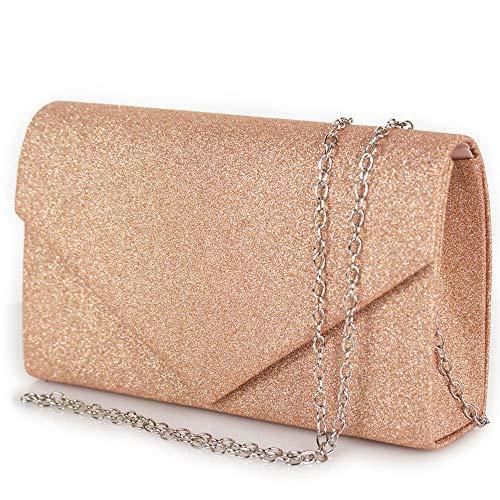 Pochette gold rose donna elegante da cerimonia borsa piccola gioiello clutch glitter oro rosa brillantini borsetta a mano cipria da sera ragazza cena brillantinata Tessuto glitterato Rosa