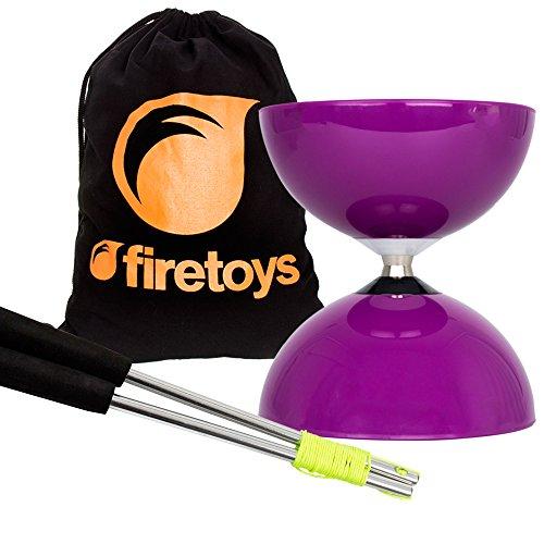 Purple Big Top - Jumbo Bearing Diabolos Set, Ali Dream Metal Diablo Sticks, Diabolo string & Firetoys Bag! by Juggle Dream