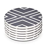 LIFVER Coasters for Drinks, Absorbent Coaster Set of 6 with Cork Base, Ceramic Drink Coasters for Cold Drinks Wine Glasses Cups Mugs, White-line
