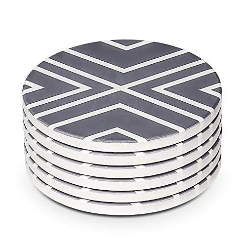 LIFVER Untersetzer Gläser, Saugfähig Untersetzer Set mit Korkboden, Untersetzer Set of 6, 4 inchs, Graue Linie