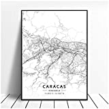 Zhaoyangeng Caracas Lienzo Pintura Imprimir Arte-Artístico Mapa Poster   Lienzo De Venezuela, Póster De Mapa Artístico- 50X70Cm Sin Marco