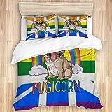 KISSENSU Funda Nórdica Cama,Bandera británica del Orgullo Gay LGBT de Rainbow de la Unión,Juego de Fundas de edredón y de Almohada de Microfibra,200 x 200 cm + 2 Fundas 50 x 80 cm