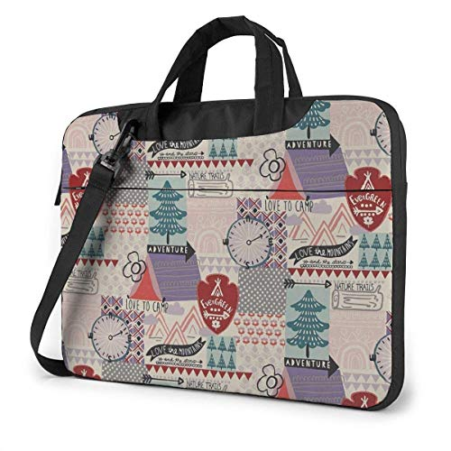 Laptop Shoulder Bag Carrying Laptop Case 15.6 Inch, Camp Adventure Computer Sleeve Cover, Business Briefcase Protective Bag