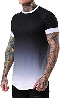 Donci Gradient Pattern Summer Mens Tops Crew Neck Casual Sports New Short Tees Fashion Quick Drying T Shirt
